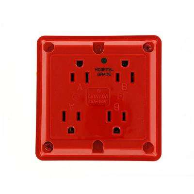 15 Amp Hospital Grade Extra Heavy Duty 4-in-1 Grounding Outlet, Red