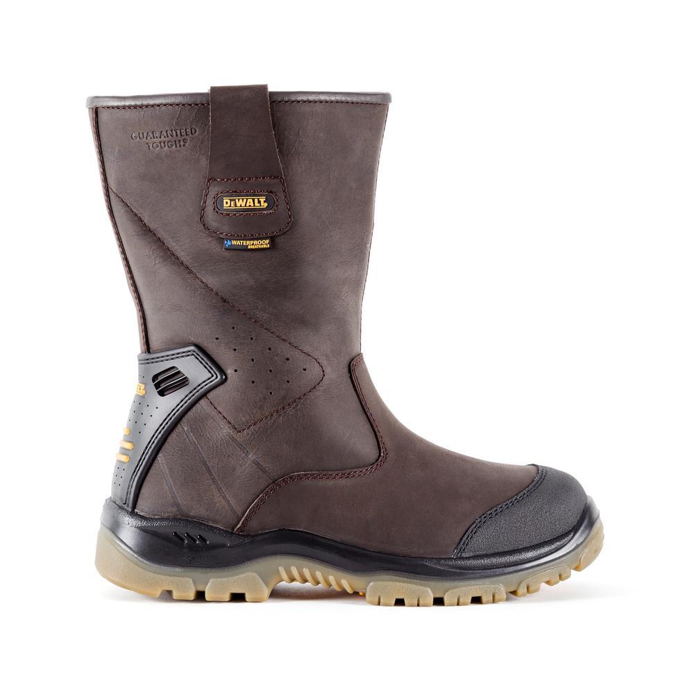 DEWALT Titanium Pull-On Men's Size 7.5 Dark Brown Leather Steel Toe Waterproof 12 in. Work Boot