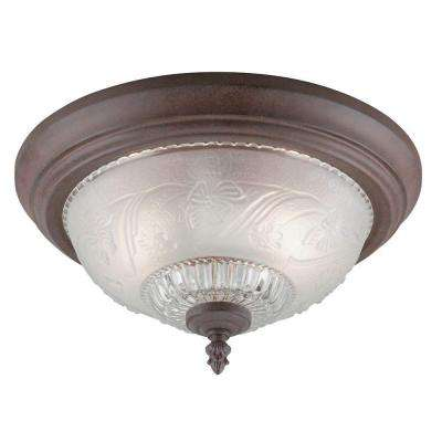 2-Light Sienna Interior Ceiling Flush Mount with Embossed Floral and Leaf Design Glass