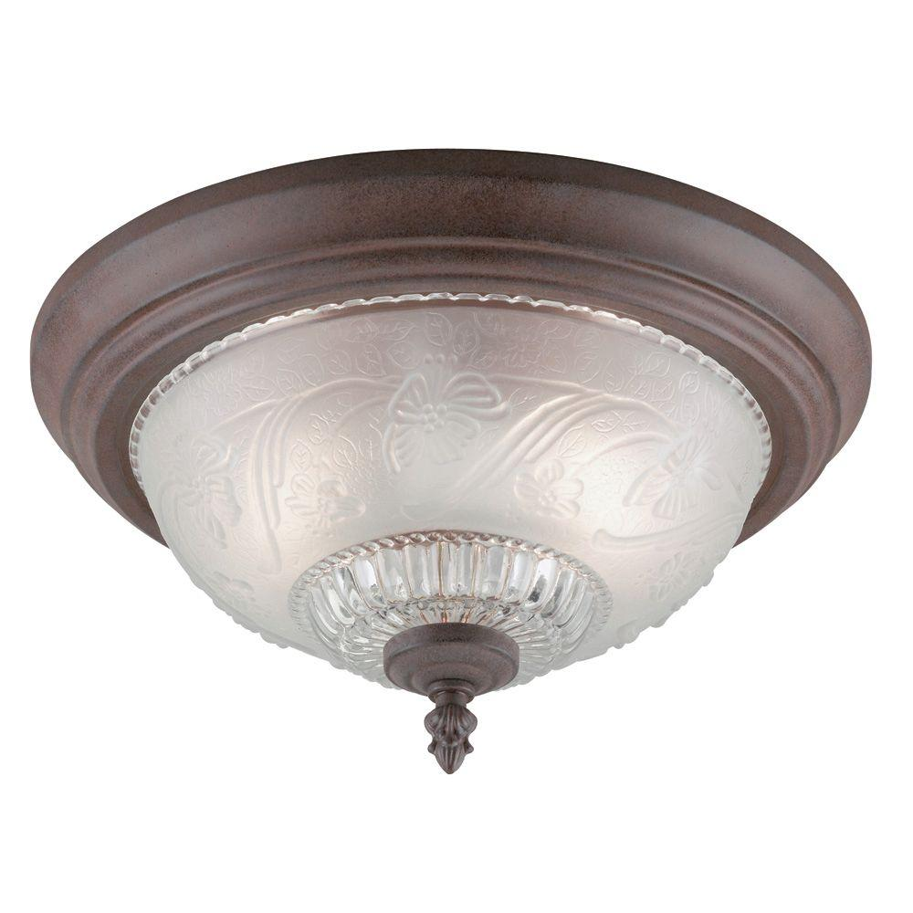 Westinghouse 2 light sienna interior ceiling flushmount with embossed floral and leaf design - Westinghouse and living ...