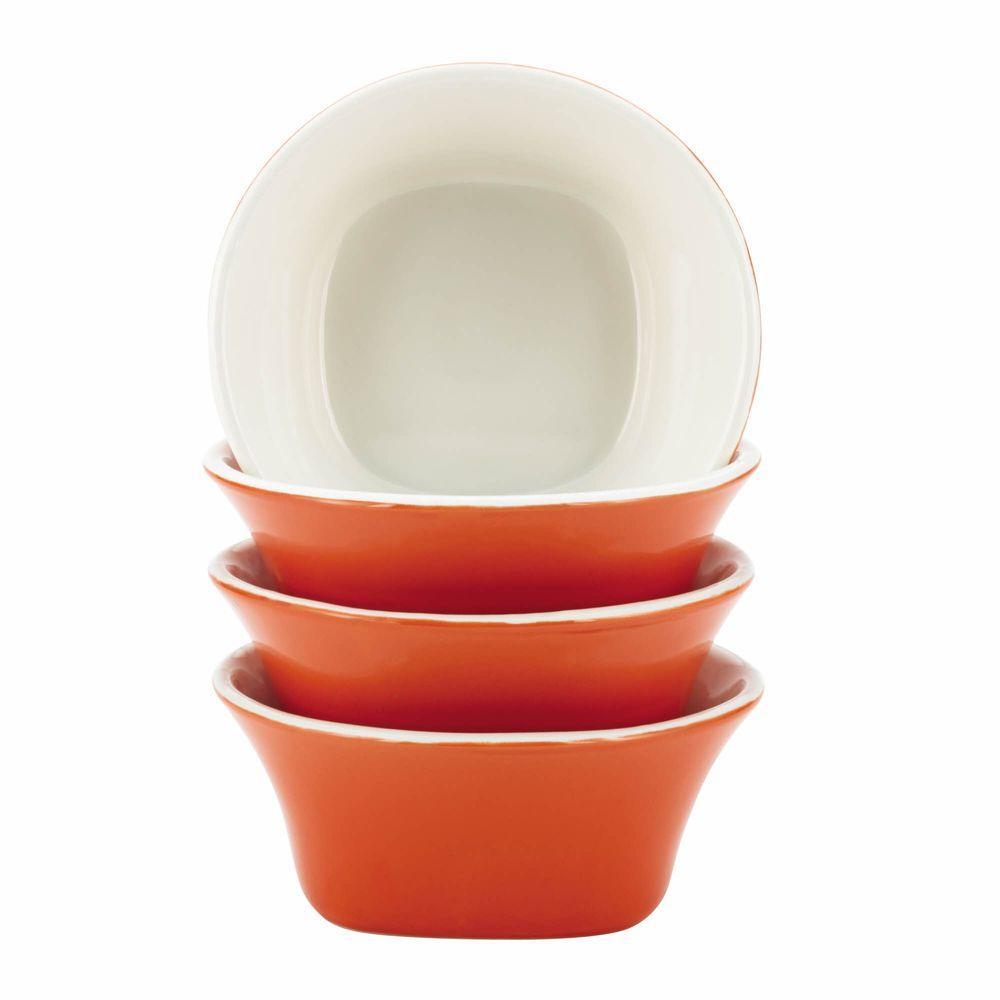 Dinnerware Round and Square 4-Piece Stoneware Fruit Bowl Set in Orange