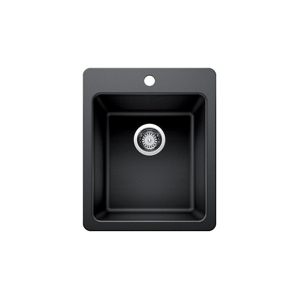 Black Granite Composite 17 in. 1-Hole Dual Mount Bar Sink