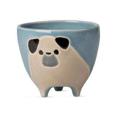 Percy Pug 4 in. x 4.75 in. Black and White Earthenware Planter