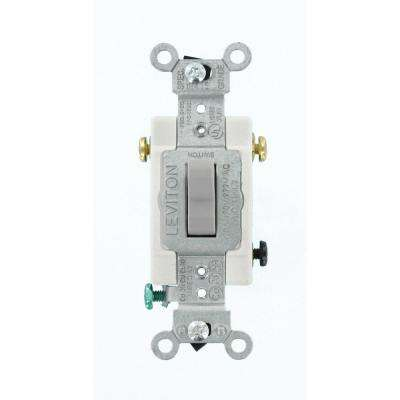 20 Amp Commercial Grade 3-Way Back Wired Toggle Switch, Gray