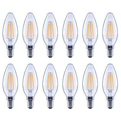 60-Watt Equivalent B11 Candle Dimmable Clear Glass Filament Vintage LED Light Bulb Daylight (12-Pack)
