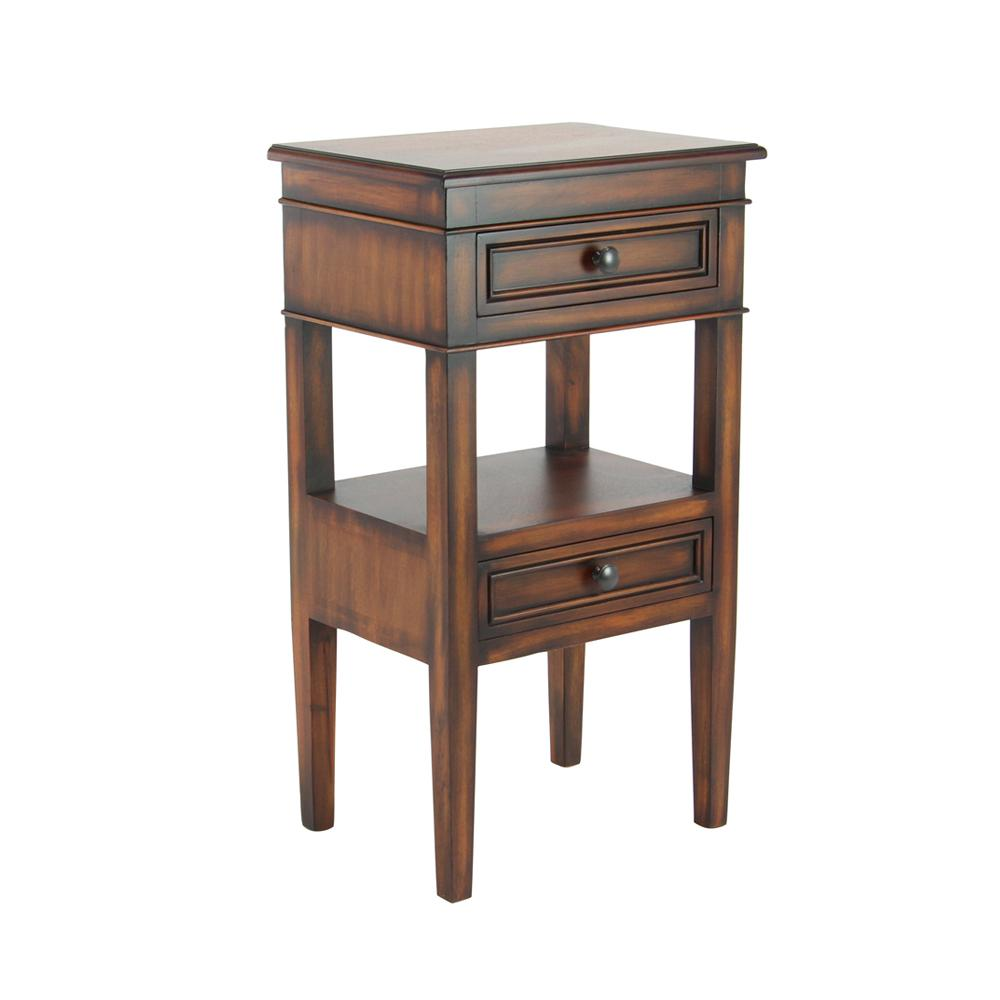 Brown 2-Drawer Side Table