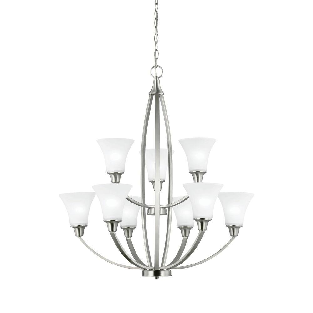 Sea Gull Lighting Metcalf 9 Light Brushed Nickel Multi Tier Chandelier