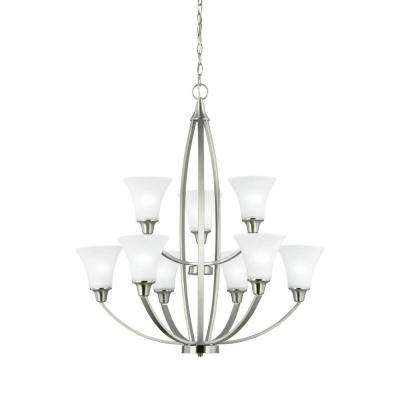 Metcalf 9-Light Brushed Nickel Multi Tier Chandelier