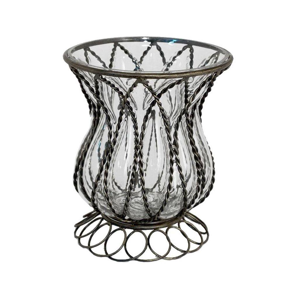 Home Decorators Collection 8 in. H Penelope Bronze Glass Hurricane Candle Holder