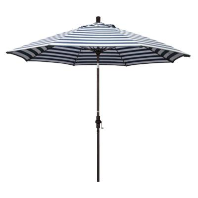 9 ft. Fiberglass Market Collar Tilt Bronze Patio Umbrella in Navy White Cabana Stripe Olefin
