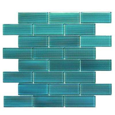 Mardi Gras Erato 12 in. x 12 in. x 6.35 mm Blue Glass Mesh-Mounted Mosaic Wall Tile (10 sq. ft. / case)