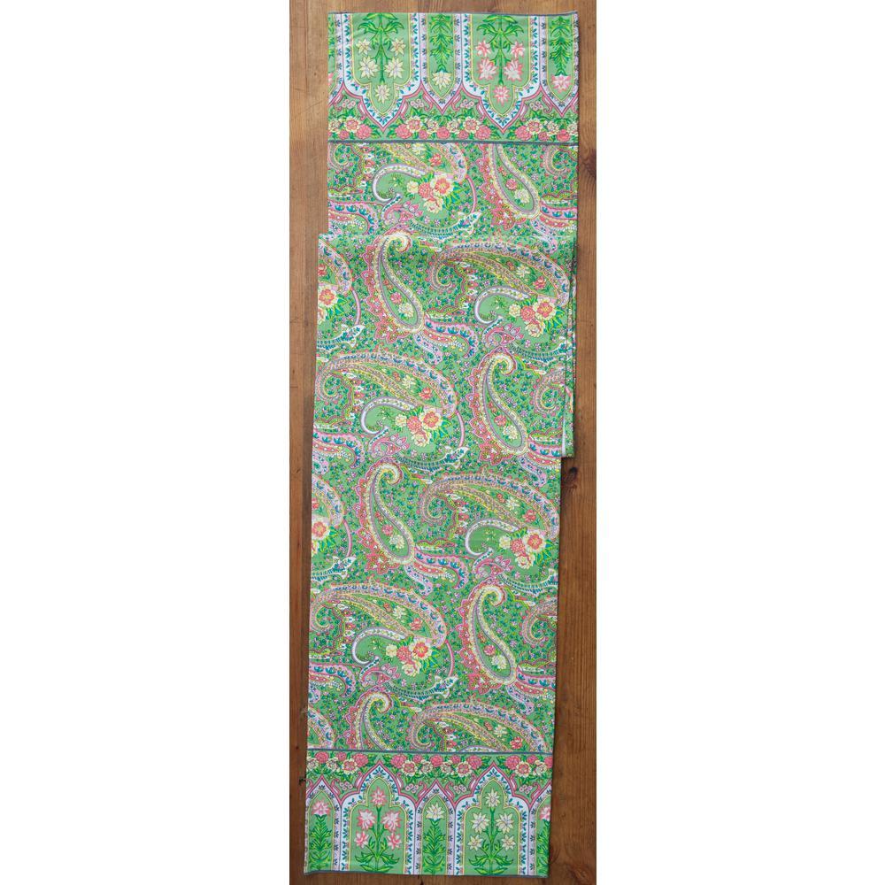 13 in. x 72 in. Green Jamavar Paislay Table Runner