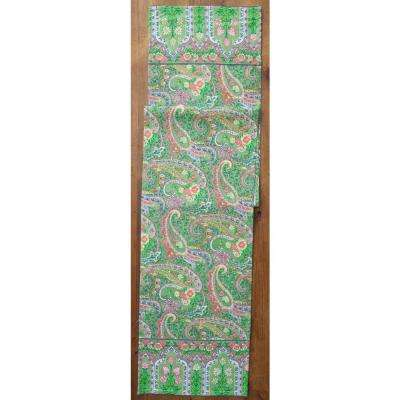 13 in. x 72 in. Green Jamavar Paislay Table Runner
