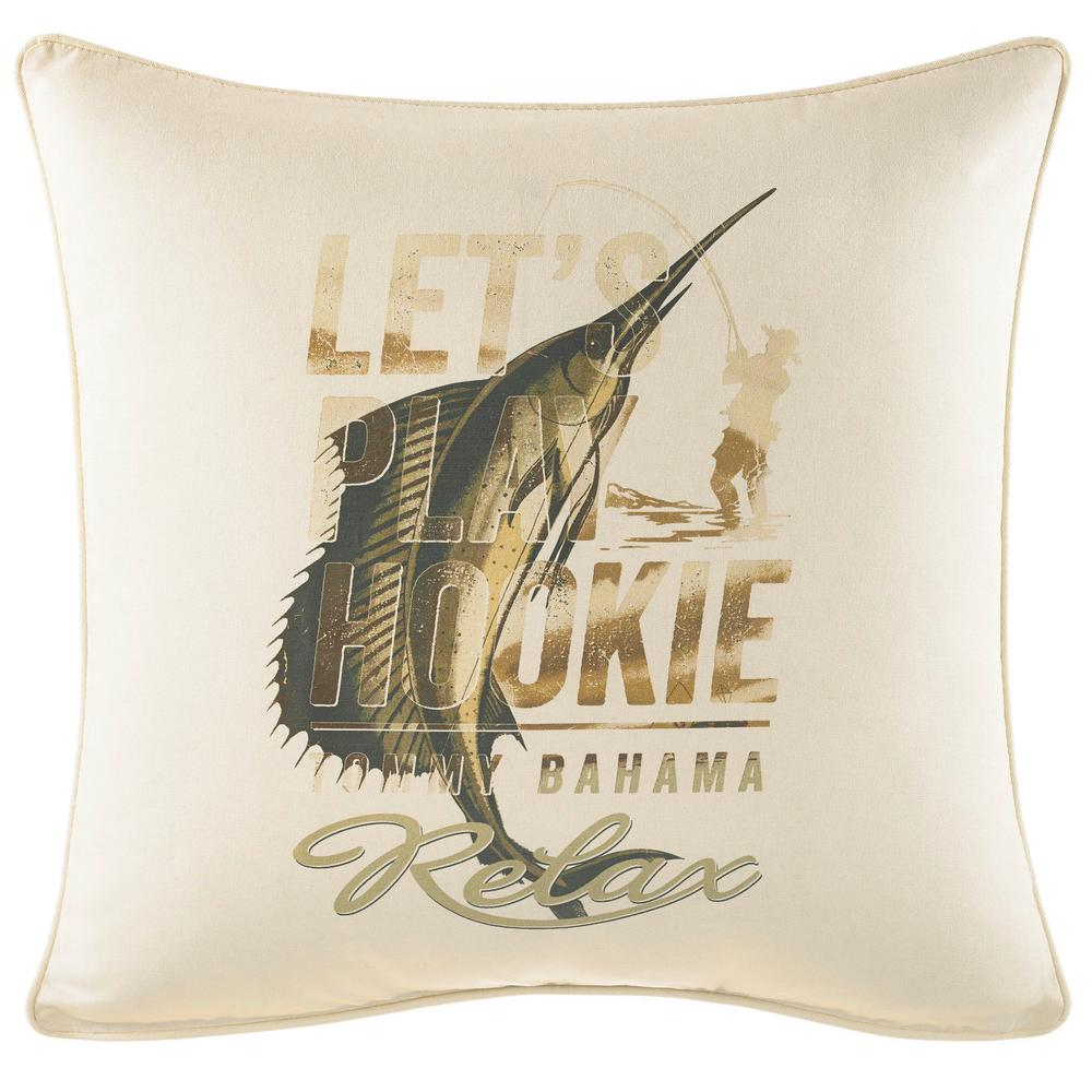 Nador Let's Play Hookie 20 in. x 20 in. Throw Pillow, Medium Green The beautiful Tommy Bahama Nador Marlin Square Throw Pillow brings a touch of paradise to your bedroom decor. Crafted in soft and comfortable cotton, the fishing-inspired design beckons you to  Let's Play Hookie  and  Relax  on a creamy ivory ground. Dimensions: (20 in. x 20 in.). Color: Medium Green.