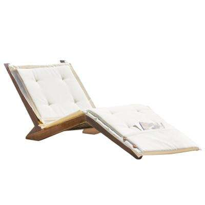Sonora Mahogany Wood Outdoor Chaise Lounge With Cream Cushion