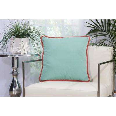 3 Color Solid & Cord 20 in. x 20 in. Aqua and Turquoise Indoor and Outdoor Pillow
