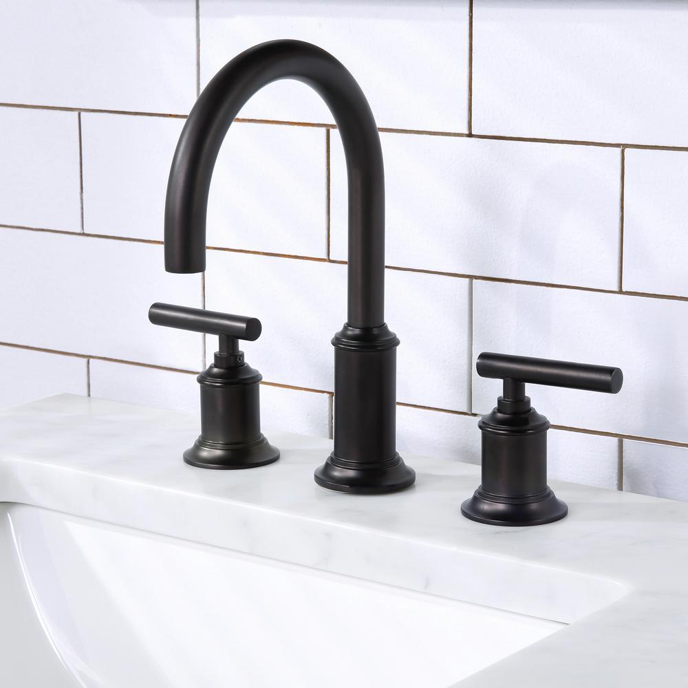 8 In. Widespread 2-Handle Modern Gooseneck Bathroom Faucet with Pop-Up Drain in Oli Rubbed Bronze