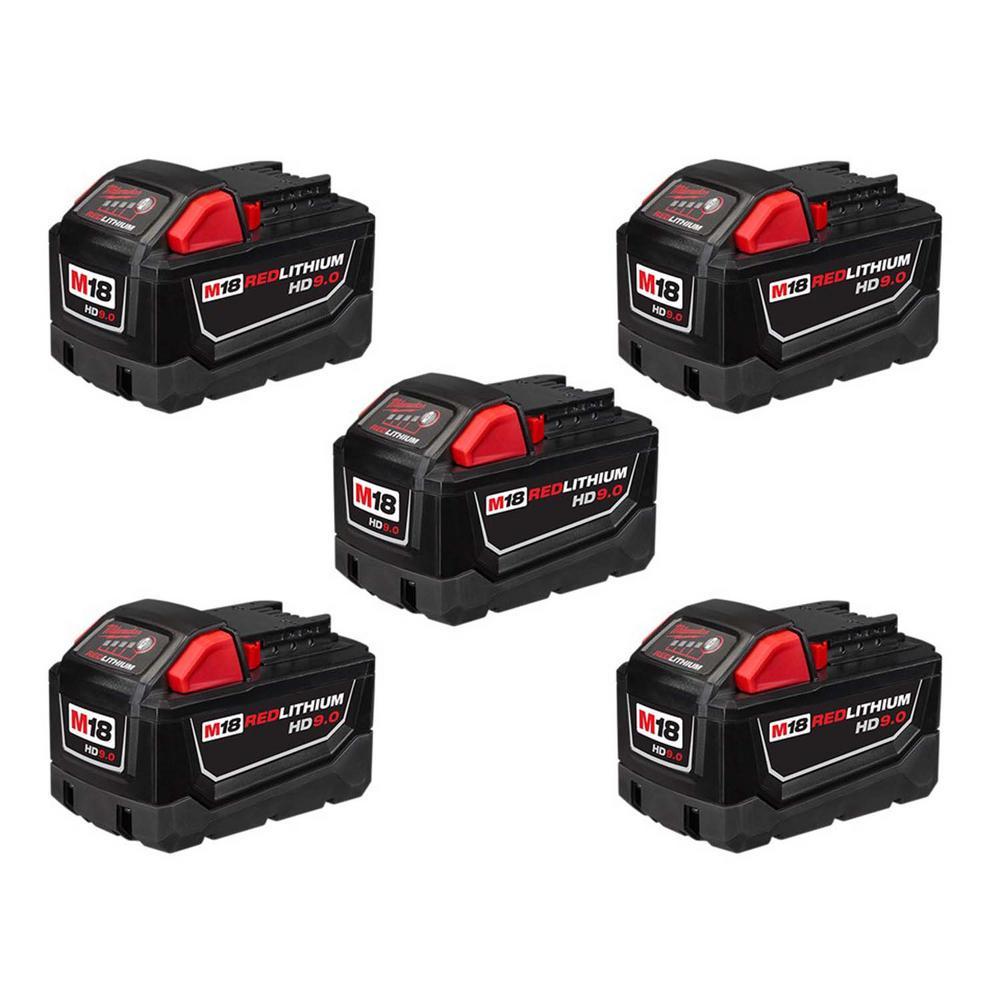 Milwaukee M18 18-Volt Lithium-Ion High Demand Battery Pack 9.0Ah (5-Pack)