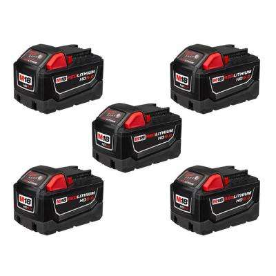 M18 18-Volt Lithium-Ion High Demand Battery Pack 9.0Ah (5-Pack)