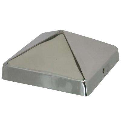 8 in. x 8 in. Stainless Steel Pyramid Slip Over Fence Post Cap