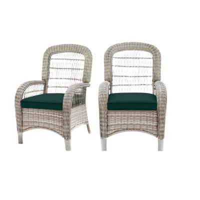 Beacon Park Gray Wicker Outdoor Patio Captain Dining Chair with CushionGuard Charleston Blue-Green Cushions (2-Pack)