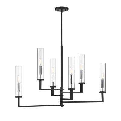 6-Light Matte Black with Polished Chrome Accents Chandelier with Clear Glass
