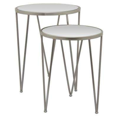 Metal Planter Stand Set of 2 in Gray Metal 19in L x 19in W x 24in H
