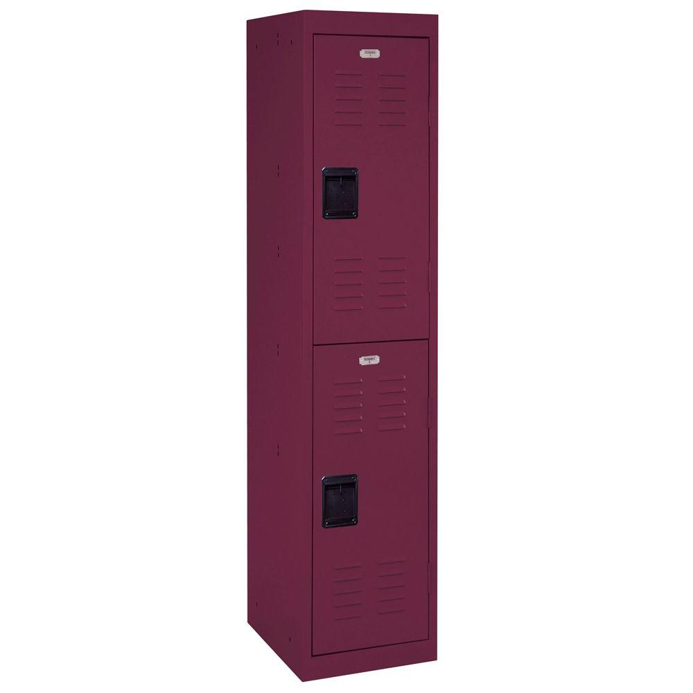 66 in. H 2-Tier Welded Steel Storage Locker in Burgundy