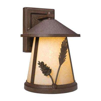 Lodge 1-Light Weathered Spruce Outdoor Wall Lantern Sconce
