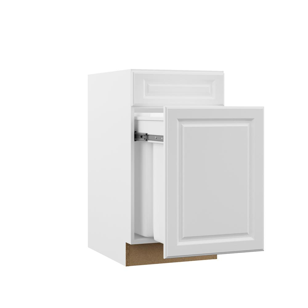 Hampton Bay Designer Series Elgin Assembled 18x34.5x23.75 in. Dual Pull Out  Trash Can Base Kitchen Cabinet in White