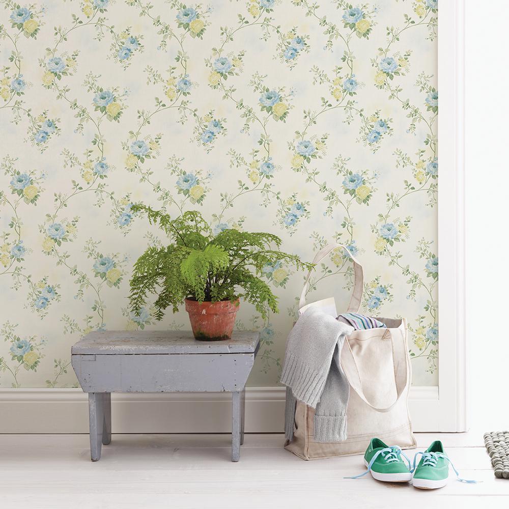 56.4 sq. ft. Mimosa Blue Trail Wallpaper