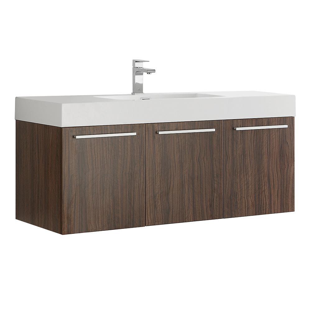 Fresca Vista 48 in. Modern Wall Hung Bath Vanity in Walnut with Vanity Top in White with White Basin
