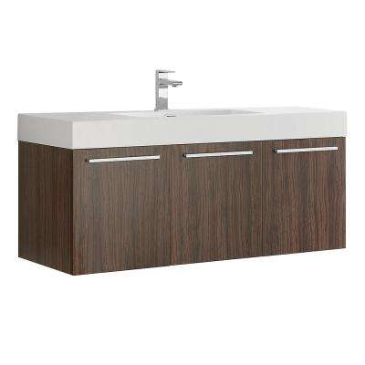 Vista 48 in. Modern Wall Hung Bath Vanity in Walnut with Vanity Top in White with White Basin