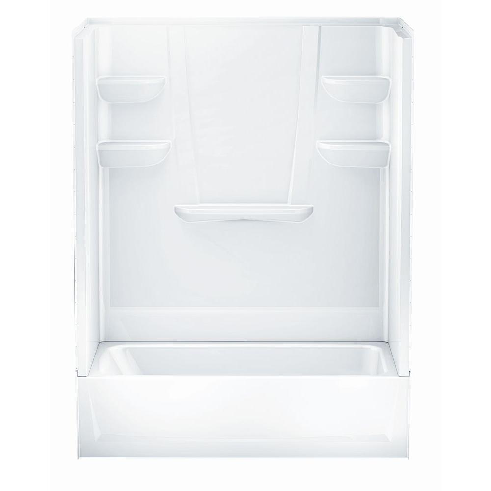 Superior Left Hand Drain 4 Piece Direct To Stud Tub/Shower Wall In White 6030CTSL AW    The Home Depot