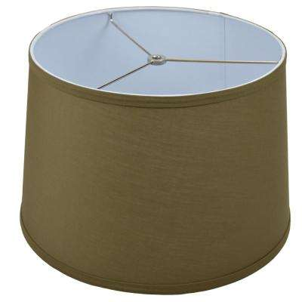 Fenchel Shades 13 in. Top Diameter x 15 in. Bottom Diameter x 10 in. Slant,  Empire Lamp Shade - Linen Olive Drab