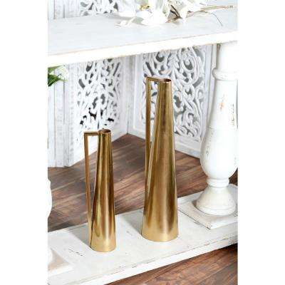 Gold Iron Decorative Vase with Inverted L Handle (Set of 2)