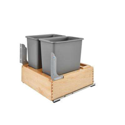 19.62 in. H x 21 in. W x 21.875 in. D Double Pull-Out Bottom Mount Wood and Silver Waste Containers with Soft-Close