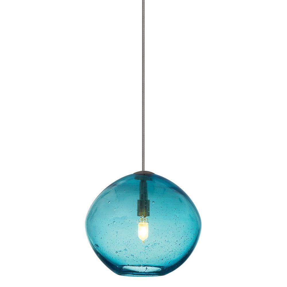 LBL Lighting Mini Isla 1-Light Bronze Aqua Xenon Hanging Mini Pendant