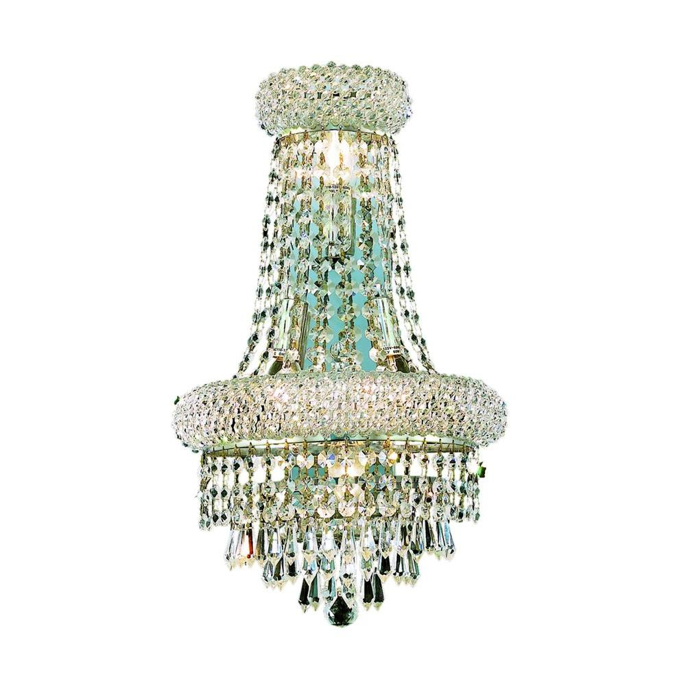 4-Light Chrome Wall Sconce with Clear Crystal