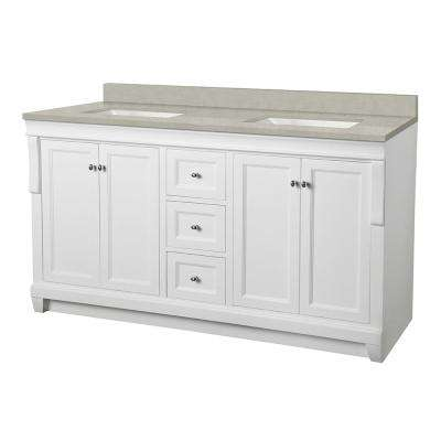 Naples 61 in. W x 22 in. D Vanity Cabinet in White with Engineered Marble Vanity Top in Dunescape with White Sink