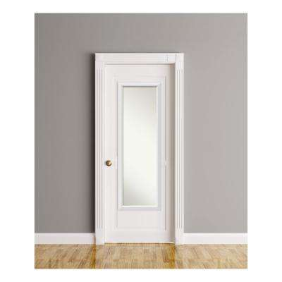 Blanco White Wood 17 in. W x 51 in. H On The Door Mirror