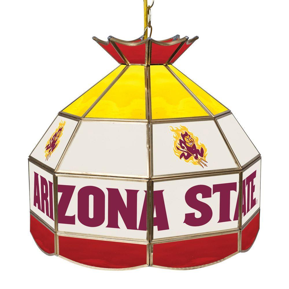 Arizona State University 16 in. Gold Hanging Tiffany Style Billiard Lamp