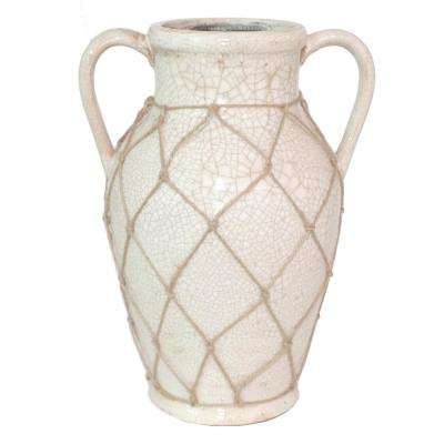 Ceramic Decorative Vase with Mesh Rope