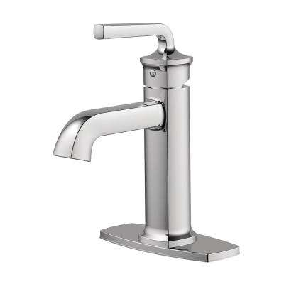 Chesapeake Single Hole 1-Handle Bathroom Faucet with Drain Assembly and Optional Deck Plate in Polished Chrome