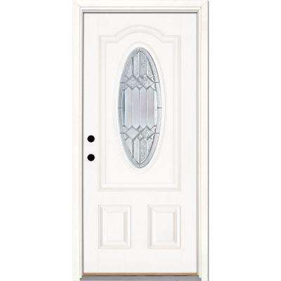 37.5 in. x 81.625 in. Mission Pointe Zinc 3/4 Oval Lite Unfinished Smooth Right-Hand Fiberglass Prehung Front Door