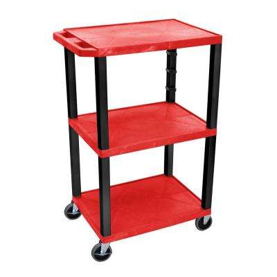 WT 42 in. H, A/V Cart With Black Legs, Red Shelves
