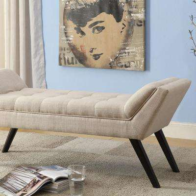 Tamblin Contemporary Beige Fabric Upholstered Bench
