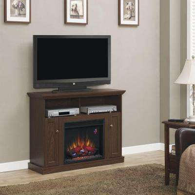 Charles Mill 46 in. Convertible Media Console Electric Fireplace TV Stand in Walnut