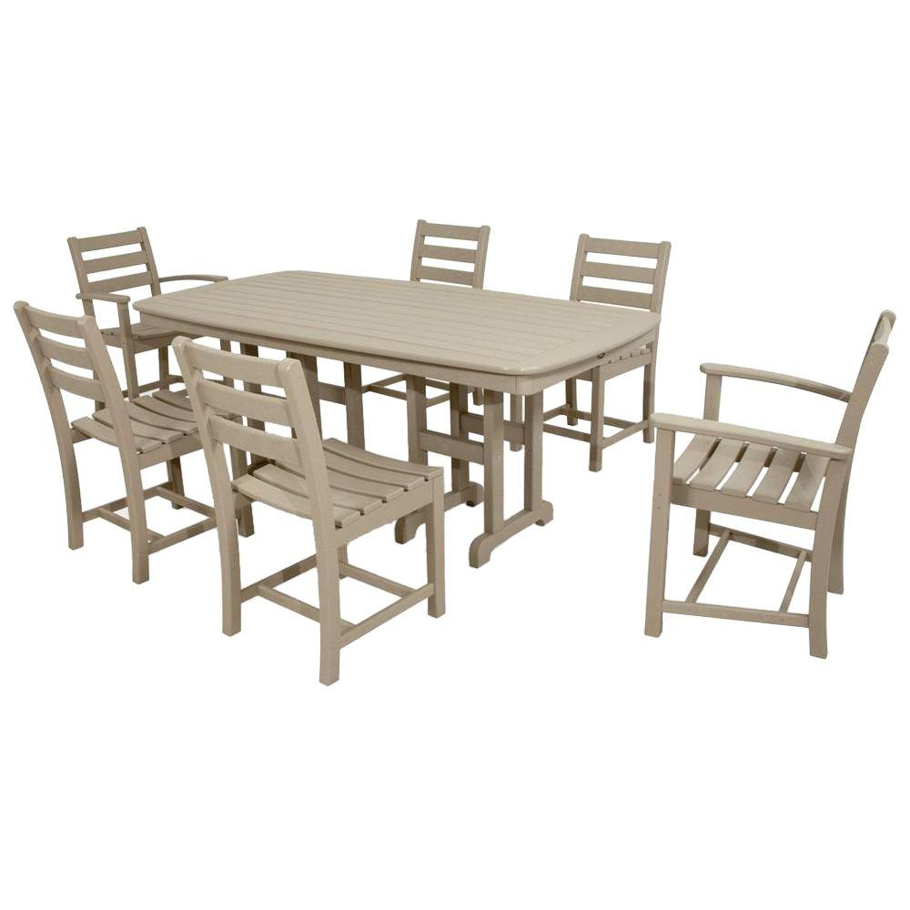 Monterey Bay Sand Castle 7-Piece Plastic Outdoor Patio Dining Set