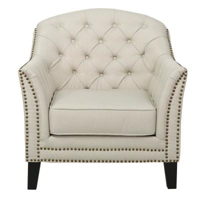 Ephraim Beige Fabric Studded Club Chair